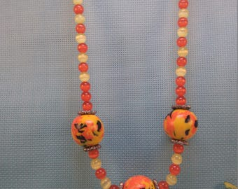 "§50§ necklace ""orange, yellow & Black"" polymer beads"