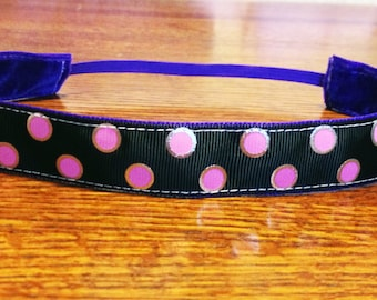 NOODLE HUGGER Non slip ribbon headband - black with pink and silver polka dots - 7/8 inch (running, working out, everyday: women and girls)