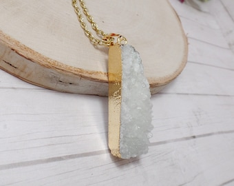 White Druzy Quartz Necklace - Gemstone Necklace - Quartz Necklace - Quartz Rectangle - Free US Shipping