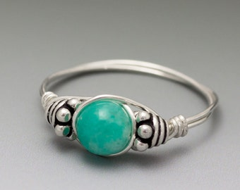 Russian Amazonite Bali Sterling Silver Wire Wrapped Ring - Made to Order, Ships Fast!