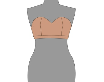 Sweetheart bodice. Women's pdf pattern and tutorial for dresses.