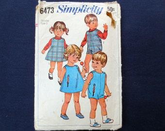 1966 Dress, Jumper & Playsuit Toddler Vintage Pattern with Soldier Applique, Simplicity 6473, Size 1