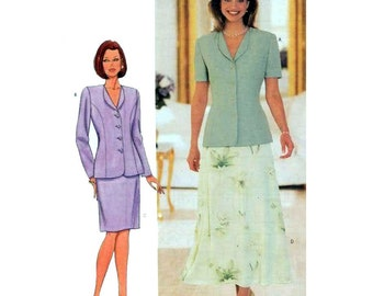 Straight Skirt, A-Line Skirt and Lined Jacket, Women's Sewing Pattern Misses Size 8, 10, 12 Uncut Butterick 5999