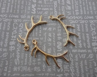 20pcs shiny gold color Metal Charms-Deer Antlers pendants charms 33X65mm--CP317