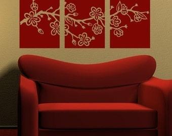 Cherry Blossom Branch Tiles, vinyl wall decals, modern wall art