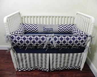 Custom Crib Bedding Set Branson - Boy Baby Bedding, Navy & Gray Baby Bedding