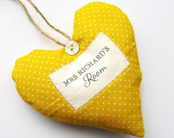 Teacher's Door Sign - Great Teacher Gift - Personalised Heart Made in Your Choice of Fabric. Supplied Gift Boxed