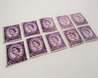 Set of Vintage Postage Stamps. Purple stamps. 1950s English postage stamps. Queen Elizabeth II. Postage stamp decoupage collage craft supply