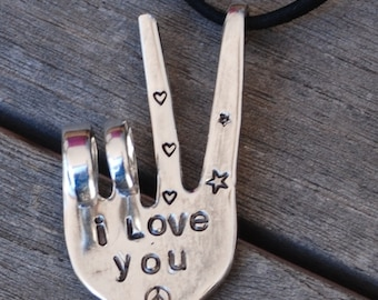 Peace Sign ORNAMENT * I LOVE YOU. Stamped Fork recycled gift art. Hangs on Leather. Hand stamped. Valentines Day Gift silver-plate