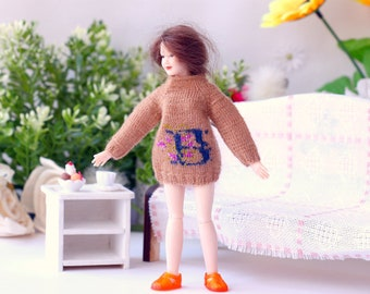 Heidi Ott lady doll Hand knitted sweater with embroidery letter  Women doll 1:12 scale dollhouse lady doll Miniature dollhouse sweater