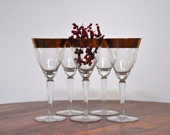 Vintage Gold Cocktail Glasses - Wine Party Glass Hollywood Glam Brass