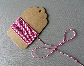 10 m Baker's Twine wire white pink cotton cord