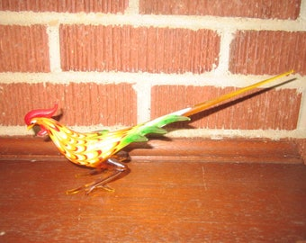 "Vintage 10"" Hand Blown Art Glass Exotic Bird Figurine"