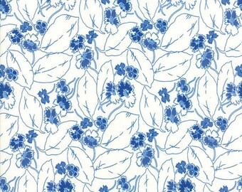 Moda Feed Sacks True Blue-drifting leaves-cornflower blue (23306 21)-by the YARD