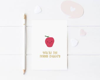 Funny Teacher Card - Teacher Thank You Card - Friendship Card - Pomme Diggity Card - Cute Apple Card - Pun Greeting Card