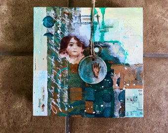 Original Mixed Media Art, Collage Art, Original Art, Curious