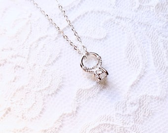 Diamond ring necklace, faux diamond ring necklace, bachelorette party jewelry bride tribe gear jewelry gift for bride