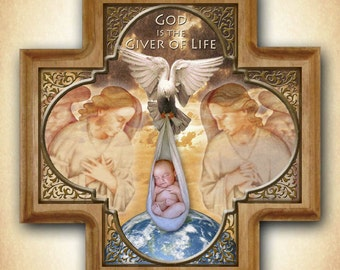 Giver of Life Pro-Life Wood Cross, New Baby Gift