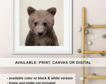 Woodland Bear Print Baby Wall Art Nursery Little Cub Animal Decor Forest Friend PinkeeArt