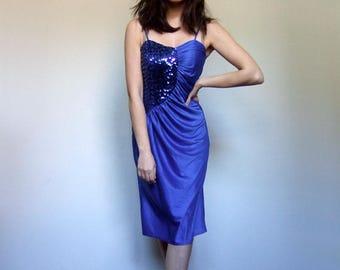 Sequin Dress Royal Blue Dress Vintage 70s Dress Blue Party Dress Disco Dress - Extra Small XS