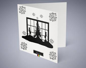 Set of 5 holiday cards... Christmas card-Merry Christmas card