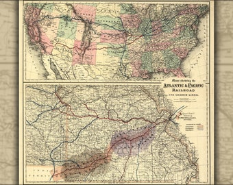 Poster, Many Sizes Available; Maps Showing The Atlantic & Pacific Railroad 1866