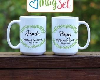 Mother of Bride Groom Mug Set, Mother of Bride mug, Mother of Groom mug, Bridal party mugs, Mother of Bride gift, Personalized Coffee Mug