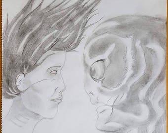 Shape of Water pencil sketch