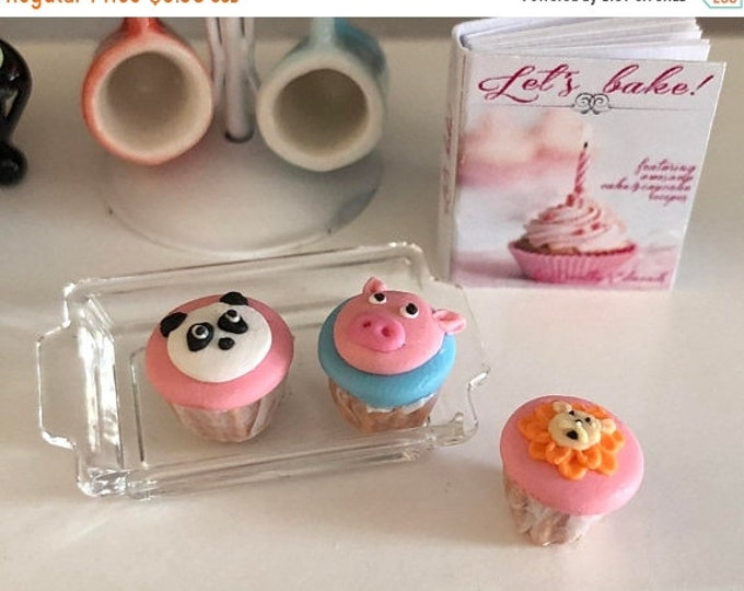 Featured listing image: SALE Miniature Cupcakes, Animal Cupcakes, Style 2, Set of 3, Panda, Pig and Tiger Cupcakes, Dollhouse Miniatures, 1:12 Scale, Dollhouse Food