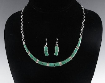 Sterling and Turquoise Inlay Necklace and Earring Set