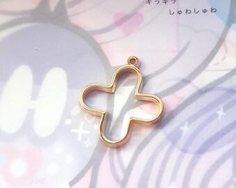 2 pcs(or more!) Gold Medical Cross Resin Bezel - Open Back Resin Charm Pendant