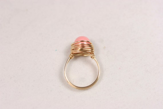 Gold rosa Korallen Ring Draht umwickelt Schmuck Gold Ring Gold