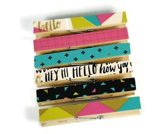 Altered Clothespin  Clips  Decorative  Wooden Clothespins in Hello!