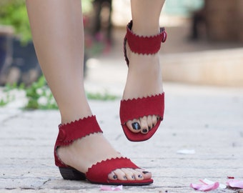 Women Leather Sandals, Heeled Sandals, Red Leather Sandals, Summer Shoes, Heels,