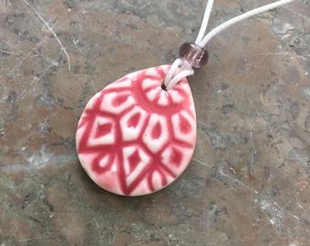 Raspberry Sunshine porcelain pendant