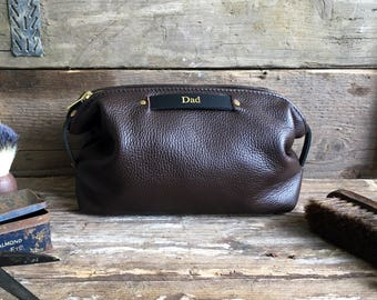 Brown Leather Toiletry Bag, Fathers Day Gift, Personalised Gift, Husband Gift, Leather Toiletry Bag, Leather Dopp Kit, Leather Wash Bag