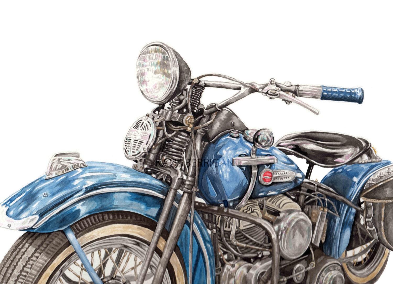 Old Harley Davidson: Vintage Harley Davidson Print Watercolor Harley Davidson