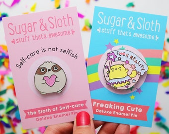 Sloth enamel pin sloth, self love gift, self love pin, sloth pin badge, Funny cat pin, cat enamel pin badge, funny girlfriend gift self care
