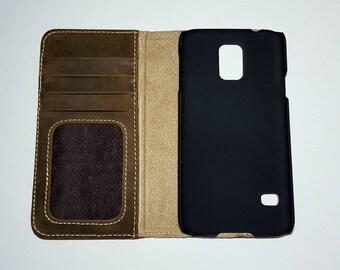 Samsung Galaxy S5 Phonecase Worn Green Genuine Leather Wallet case Folio Case for S5