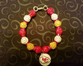 Kansas City Chiefs inspired charm bracelet- Qty: 1