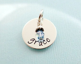 Personalized Charm - Name Charm - Add ON with Birthstone - Personalized Jewelry - Hand Stamped