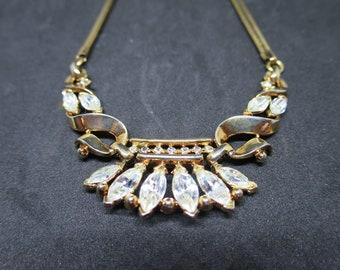 Crown Trifari Gold Rhinestone Necklace Alfred Phillipe Coronet Crown Pendant Necklace