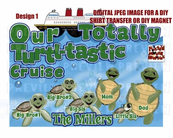 Digital Turtle Family Disney Cruise Shirt Transfer or Door Magnet Matching Family Cruise Shirts Personalized shirts