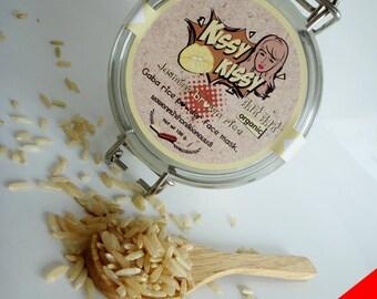 Natural 100%(Hom mali Thai rice)Jasmine gaba rice face mask and scrub 2 in 1 in jar 100g.
