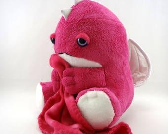 Sleepy Dragon plush - purple eyed/ dark pink body / white holographic wings