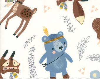 Wild and Free - Woodland Critters in Cloud by Abi Hall for Moda - 35311 11