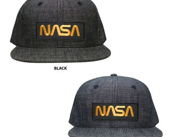 NASA Worm Gold Text Embroidered Patch Washed Denim Snapback Cap (1094-FPA302)