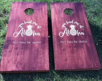 Custom Wedding Cornhole Boards - Custom Tropical Aloha Wedding Logo