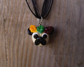 Pug with Autumn Leaves Crown - Glass Pendant