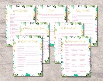 Tropical Floral Baby Shower Games Kit Printable, aloha hawaiian baby shower games set, instant download   digital file, summer hawaii pack